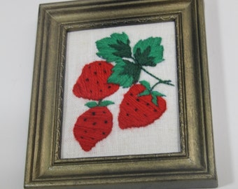 Cute Small Vintage Strawberry Crewel Framed Picture