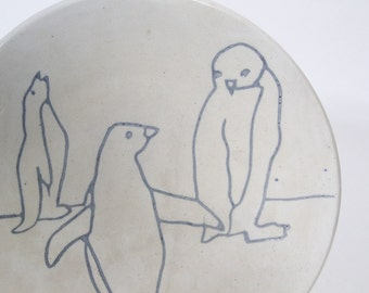 Vintage Signed Primitive Penguin Plate Blue Gray Periwinkle Drawing
