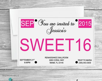 License Plate Sweet 16 Invitation - Sweet 16 Invitations - Sweet Sixteen Invitations - Sweet 16 License Plate - Printable Invitation
