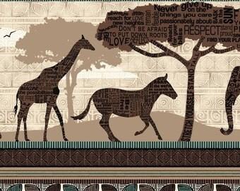 Safari Fabric - Wisdom of the Plains Border Stripe by Tara Reed for Quilting Treasures  - 24280 A Brown - 1/2 yard