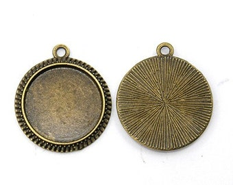 16mm Cabochon Pendant Antique Bronze Tray Setting Bezel Trays 20pcs