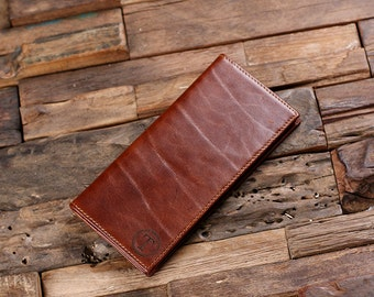 Bi-fold Breast Long Wallet Personalized Monogrammed Engraved Leather with Wood Gift Box Men or Women Wallet Checkbook Cover