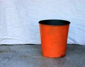 industrial metal trash can wastebasket or planter : orange