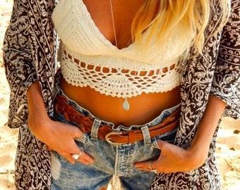 white/ivory Candy crochet lace crop top, boho festivsl beach /bridal/wedding/honeymoon crochet crop top