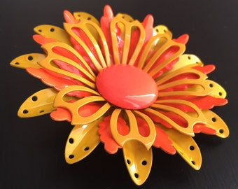 Vintage orange and yellow flower brooch