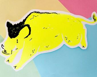 Wild Boar Fluorescent Silk Screen Cut Out