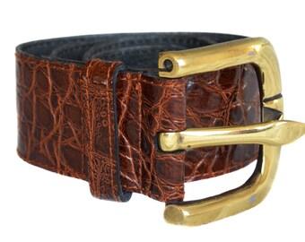 Vintage real leather belt brown size TW 75