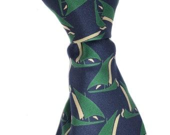 Vintage David H. Cotton neck tie pure silk necktie green blue beige boats