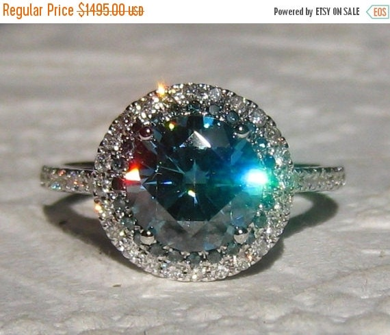 Valentines Day Sale Blue Moissanite Engagement by JuliaBJewelry