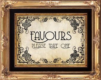 art nouveau wedding sign, art nouveau favours sign, printable wedding sign, printable art nouveau sign, wedding sign, 8 x 10, you print