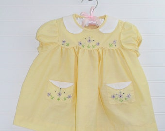 Vintage baby dress. Yellow with white collar, no name for 18mo or 2T