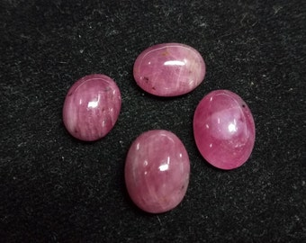 4 Pieces Natural Untreated Ruby - Unheated Ruby Cabochon Parcel - Ruby Cabochon - African Ruby Oval Cabochon