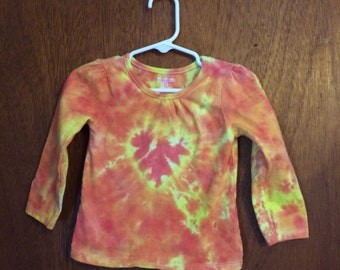 Cute tie dye toddler top 18 months orange and yellow long sleeve