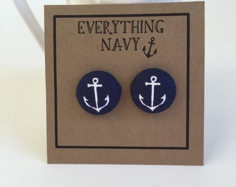 Navy Blue and White Anchor Fabric covered button earrings, USNA
