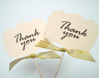 Set of 24Pcs - Cream with Gold Glitter Bow 'Thank you' Cupcake Toppers, Food Picks, Weddings, Bridal/Baby Shower Party Picks