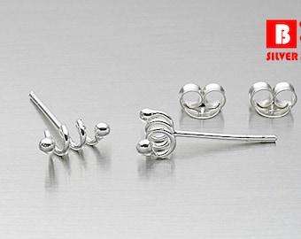 925 Sterling Silver Earrings, Coil Spring Earrings, Stud Earrings (Code : ED73)