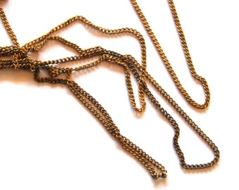 5ft Vintage Brass Patina Curb Chain - C035