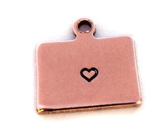 2x Rose Gold Plated Colorado State Charms w/ Hearts - M132/H-CO