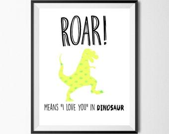 Roar Means I Love You In Dinosaur, Dinosaur Nursery, Dinosaur Bedroom, Rawr Print, Dino Wall Art, Kids Room Wall Art, Boy Nursery, Digital