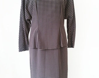 HALF PRICE Vintage Dress/ Dark Brown Dress / Polka Dot Dress/ Peplum Dress / Back Button Dress / Button Back Dress / Size S M