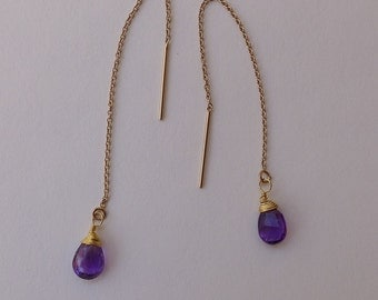 Gold and Amethyst Threader Earrings