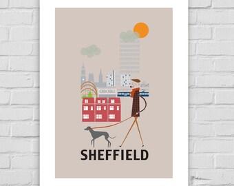 Impresión A4/A3/A2 de Sheffield cartel pared arte ciudad horizonte yorkshire decoración diversión retro diseño colina de vida ilustrada crisol acero moderno parque