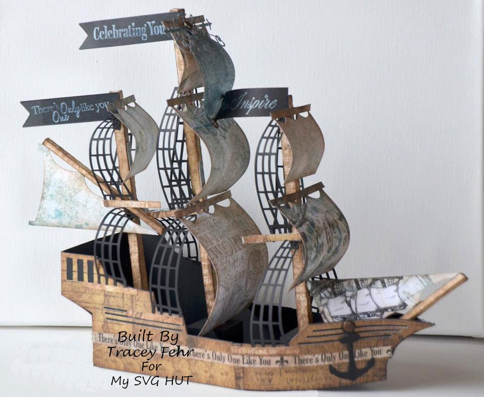 pirate ship sails template - 3d svg pirate ship galleon digital download