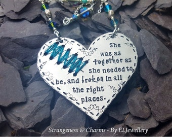 Hand Stamped Becca Lee Inspired 'Stitched Heart' Large Heart Decoration, Broken, Poetry, Quotes, Stamped Metal, Wall Art, Soulmate, Couples