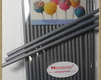 "Silver - 50pcs 6"" x 5/32"" Plastic  Lollipop Sticks for Cake Pops"