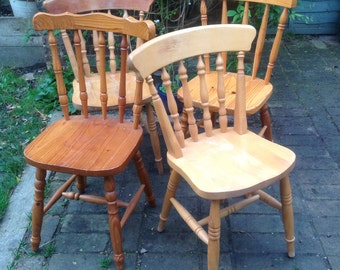 SOLD Four mix match farmhouse chairs
