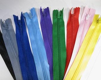 SET! 10pc zipper 30cm / 12inch mixed closed end nylon (Z30NYLON)