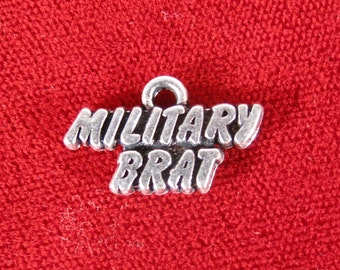 "BULK! 30pc ""Military brat"" charms in antique silver style (BC1029B)"