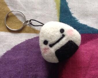 Needle Felted Rice Ball Keychain