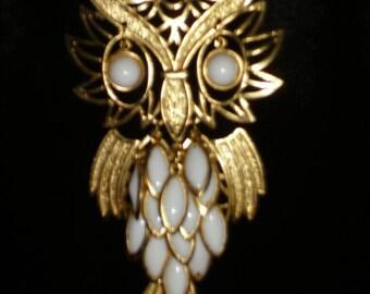 Vintage  Owl Necklace, Long Chain Necklace, Vintage Owl Necklace, Vintage Jewelry