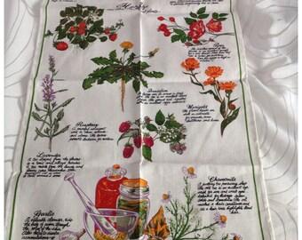 Greetings from Kuranda, North Queensland 'Herbs and Other Medicinal Plants' Linen/Cotton Tea Towel