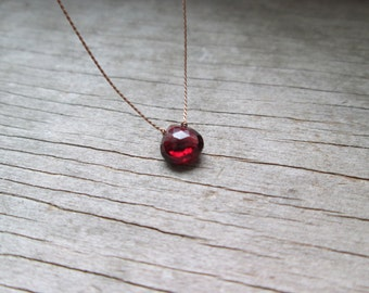GARNET floating stone necklace on a fine silk cord minimalist gemstone necklace January birthstone healing stone