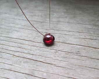 GARNET floating stone necklace on a fine silk cord minimalist gemstone necklace January birthstone healing stone