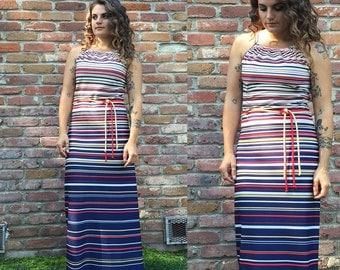 50% off sale! Vintage Maxi Dress - Halter Dress - Beach Dress - Sailor - Halter Top - 4th of July Dress - Festival Dress - Mod - Size Medium