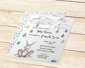 Printable Baby Shower Invitation - Watercolor Clouds and Bunny (5x7)
