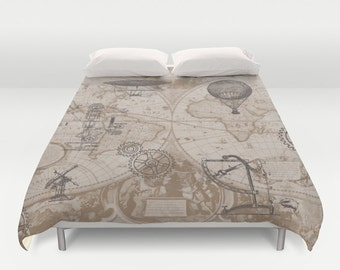 Steampunk Duvet Cover - bed - bedroom, travel decor, cozy browns, map, gears, hot air balloons, retro, black brown