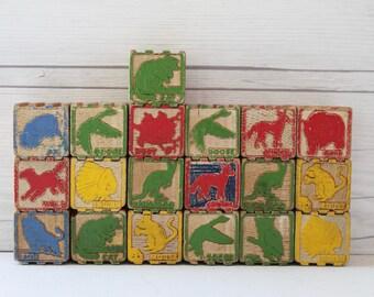 Vintage Lot of 19 Wooden Blocks, Vintage Wood Blocks, Vintage Wood Toy