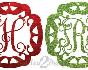 4 inch Ornament Single Letter or Monogram Customized Acrylic -Initial Ornament, Christmas, Holiday