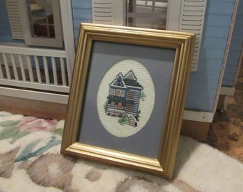 Vintage framed Cross stitch Victorian House Tiny House Miniature 5 x 6
