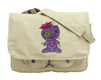 Voodoo Doll Embroidered Canvas Messenger Bag
