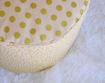 Pink and Gold Pouf- Floor Pouf- Nursery Pouf- Ottoman Cushion- Blush and Gold Nursery Pouf- Nursery Cushion- Pouf Ottoman