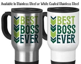 Travel Mug, Best Boss Ever 001 Boss Gift Boss Mug Greatest Boss Gift For Boss Birthday Christmas Boss Appreciation, Stainless Steel, 14 oz