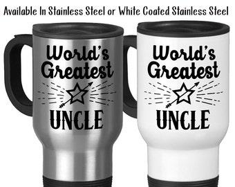 Travel Mug, World's Greatest Uncle Niece Nephew Gift For Uncles Uncle Gift Best Uncle #1 Uncle, Stainless Steel, 14 oz - Gift Idea