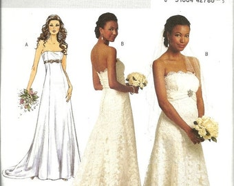 On Sale Butterick 5325   Misses Wedding Gown, Evening Gown  Size 6,8,10,12  UNCUT