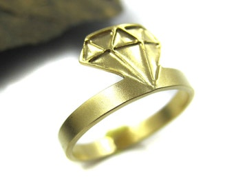 Gold Diamond ring, Diamond shape ring, Dainty ring, Rumbos ring, Geometric ring, Diamond jewelry, Laser cut ring, Boho ring, under 40, Tiny