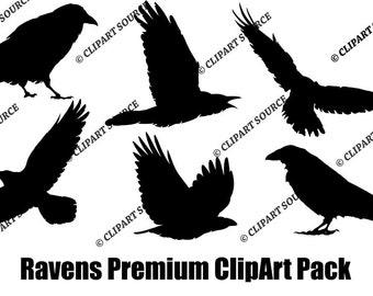 Clip Art; Ravens Clipart; Silhouette File; Scrapbooking File; commercial use